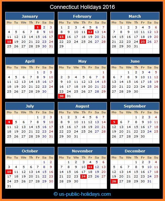 Connecticut Holiday Calendar 2016