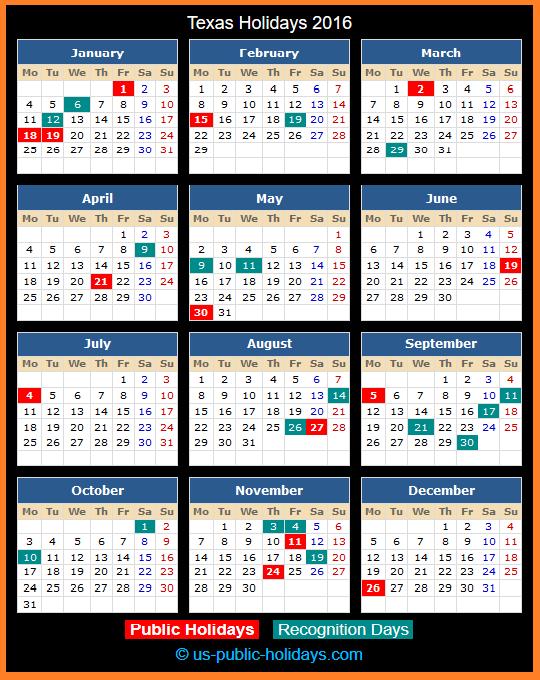 Texas Holiday Calendar 2016