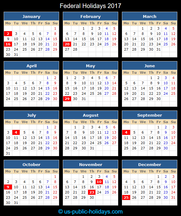 Federal Holiday Calendar 2017