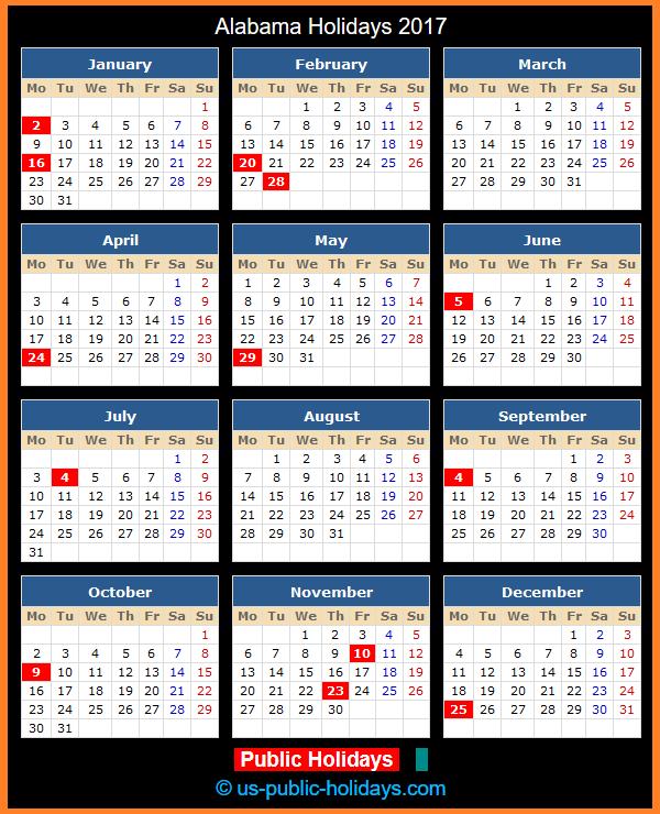 Alabama Holiday Calendar 2017