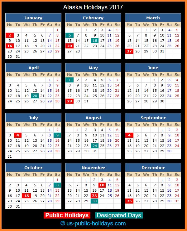 Alaska Holiday Calendar 2017