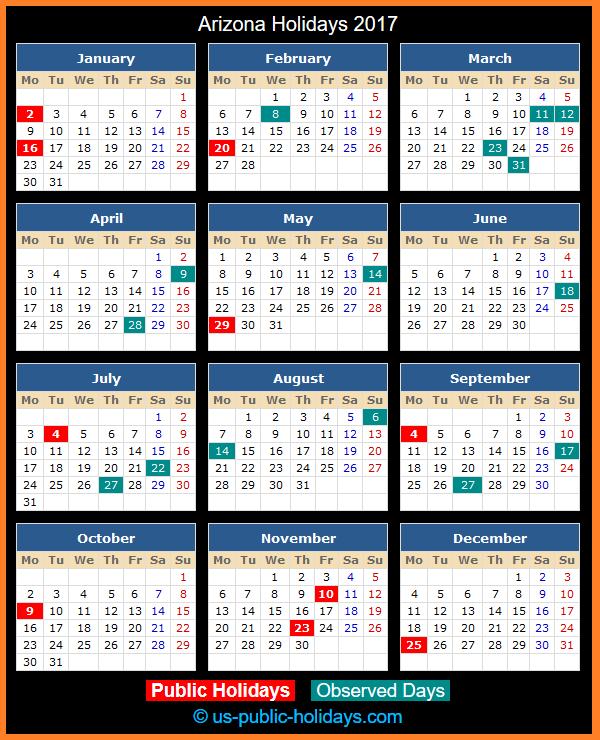 Arizona Holiday Calendar 2017