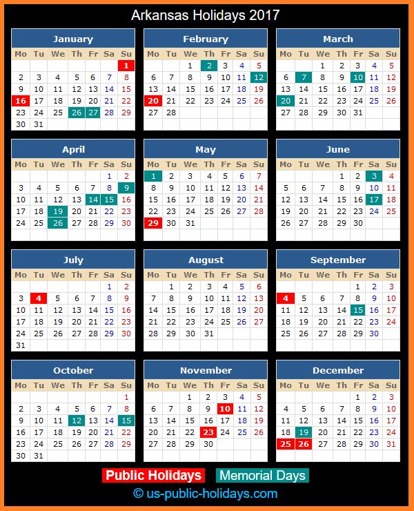 Arkansas Holiday Calendar 2017