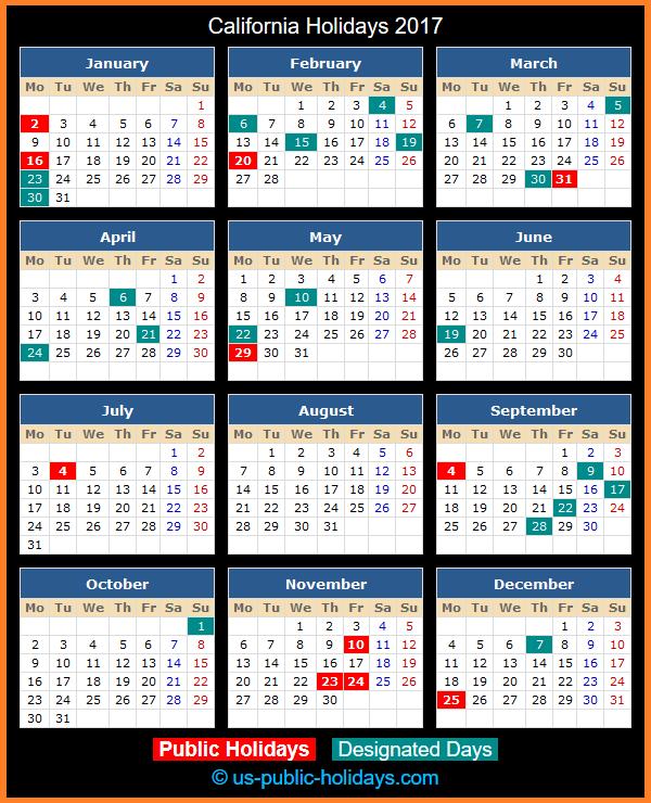 California Holiday Calendar 2017
