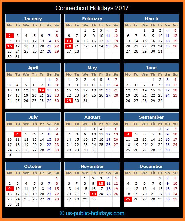 Connecticut Holiday Calendar 2017