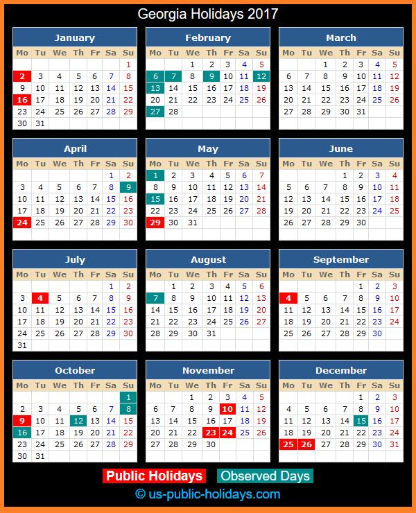 Georgia Holiday Calendar 2017