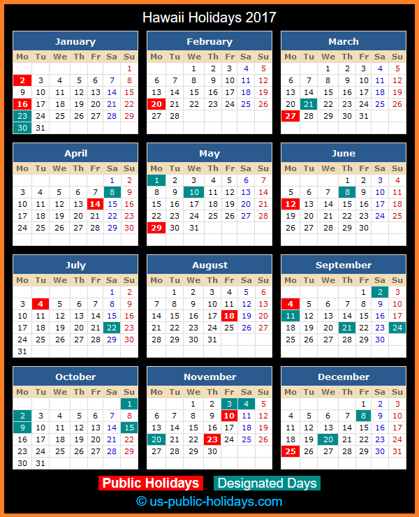 Hawaii Holiday Calendar 2017
