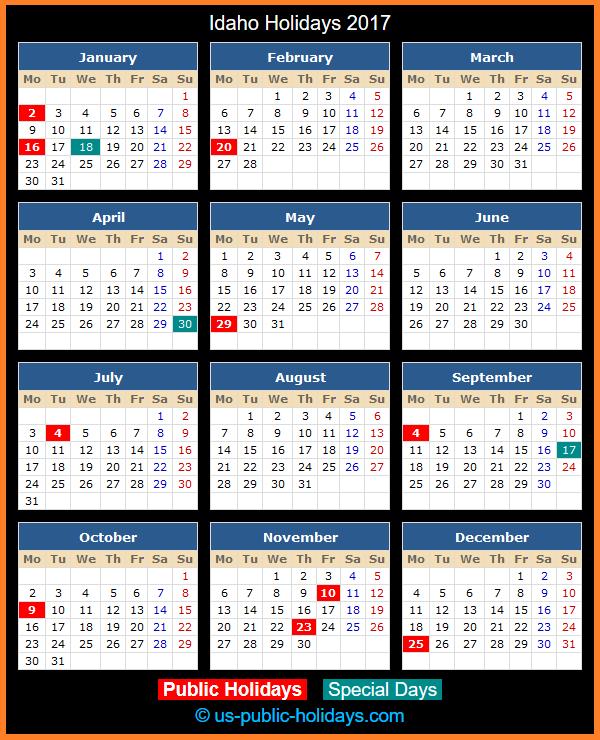 Idaho Holiday Calendar 2017