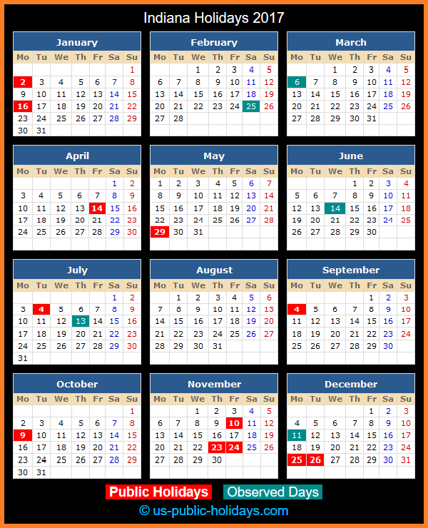 Indiana Holiday Calendar 2017