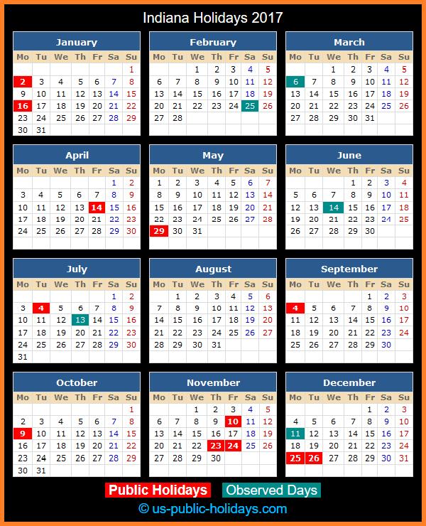 Indiana Holiday Calendar 2017