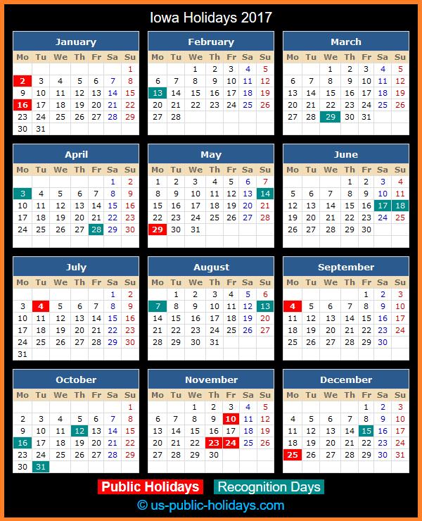 Iowa Holiday Calendar 2017