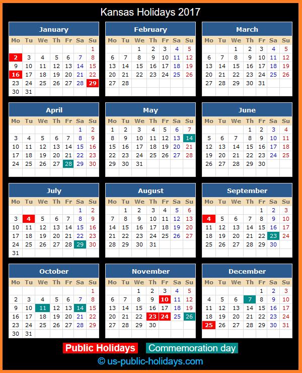 Kansas Holiday Calendar 2017