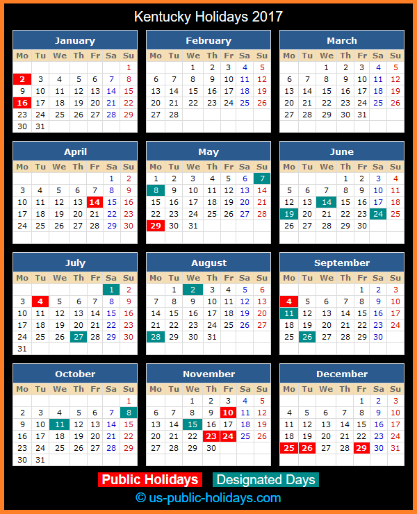 Kentucky Holiday Calendar 2017