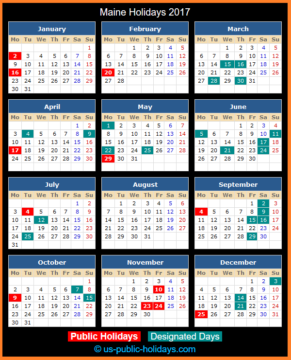 Maine Holiday Calendar 2017