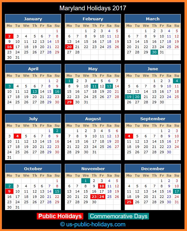 Maryland Holiday Calendar 2017