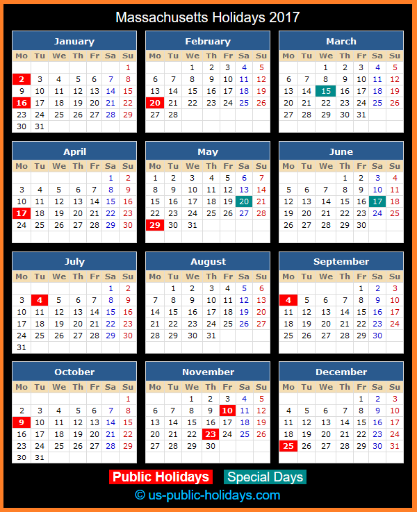 Massachusetts Holiday Calendar 2017