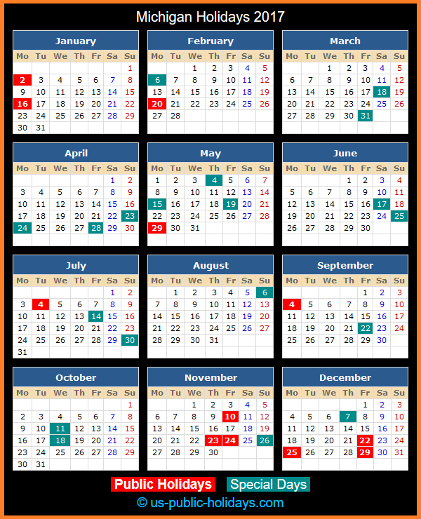 Michigan Holiday Calendar 2017