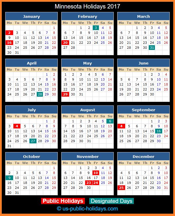 Minnesota Holiday Calendar 2017