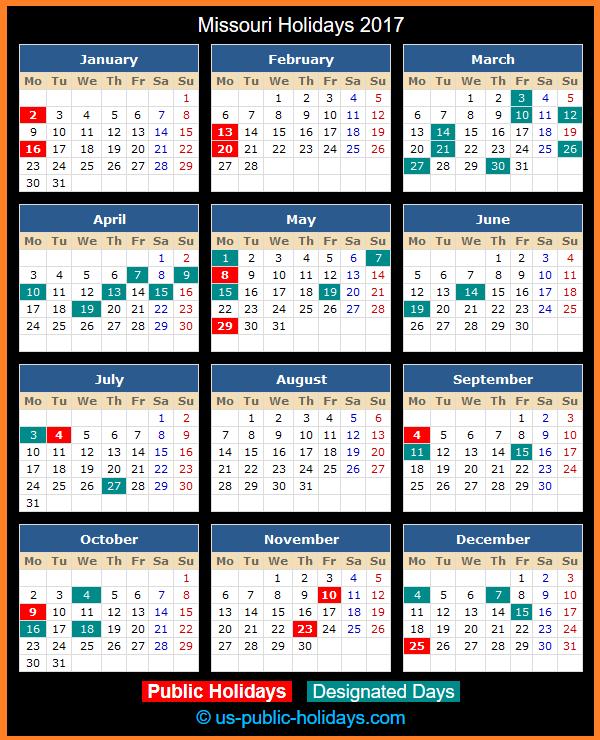 Missouri Holiday Calendar 2017