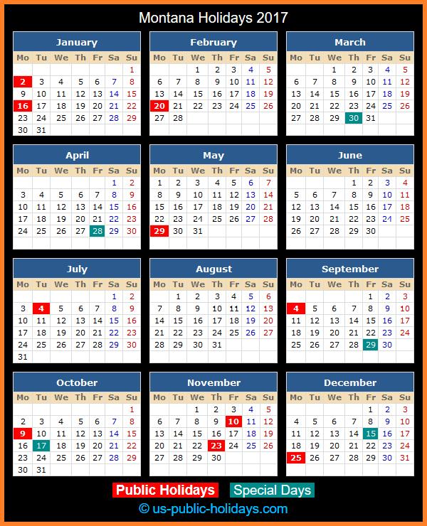 Montana Holiday Calendar 2017