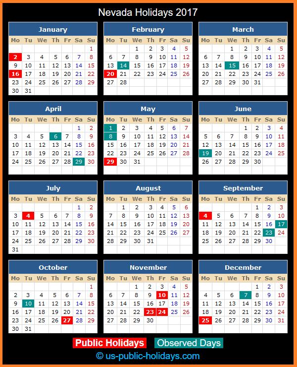 Nevada Holiday Calendar 2017