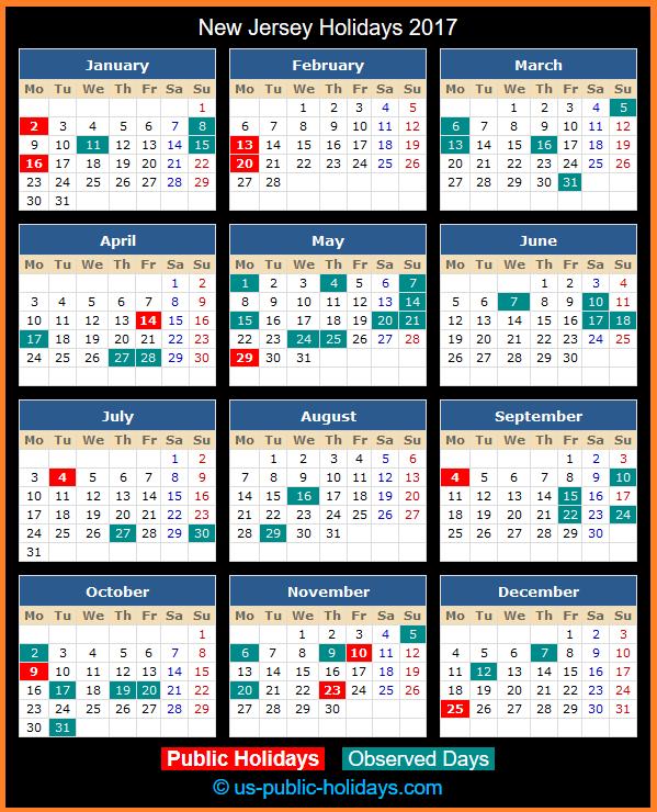 New Jersey Holiday Calendar 2017