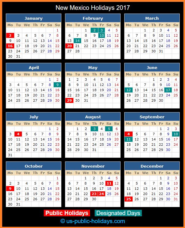 New Mexico Holiday Calendar 2017