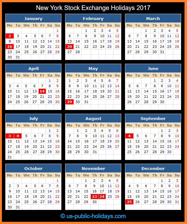 New York Stock Exchange Holiday Calendar 2017
