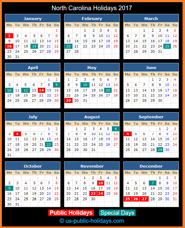 North Carolina Holiday Calendar 2017