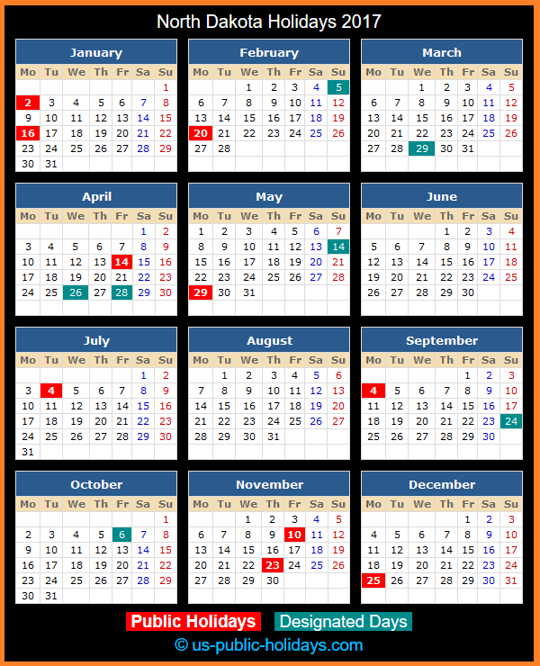 North Dakota Holiday Calendar 2017