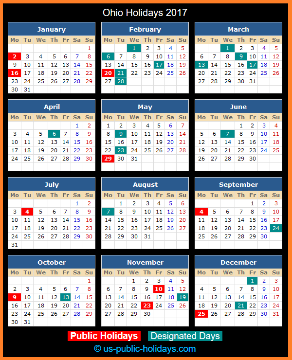 Ohio Holiday Calendar 2017