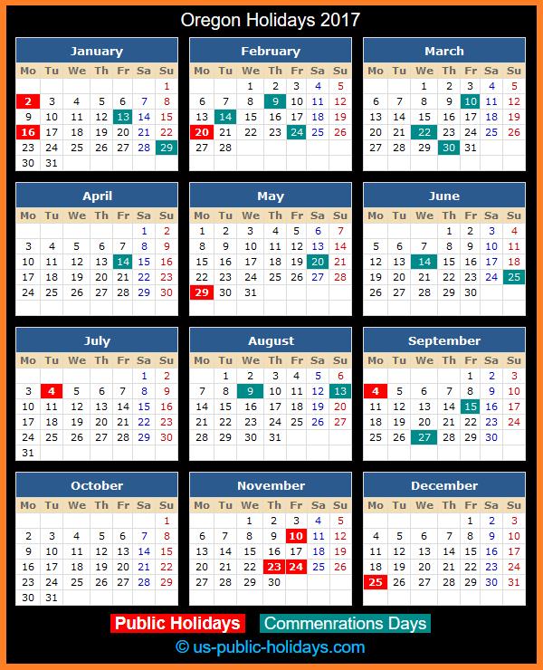 Oregon Holiday Calendar 2017
