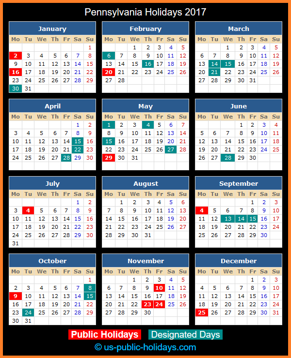 Pennsylvania Holiday Calendar 2017