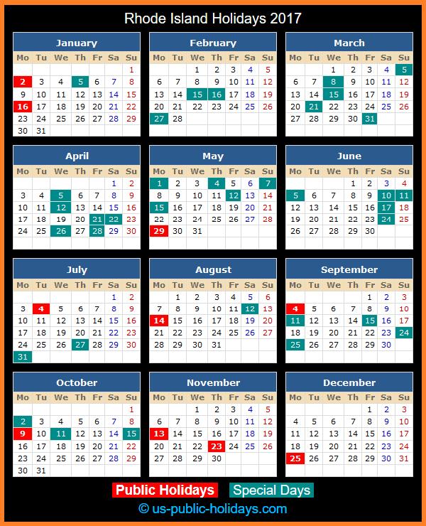 Rhode Island Holiday Calendar 2017