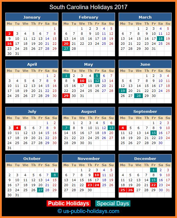 South Carolina Holiday Calendar 2017