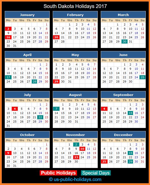 South Dakota Holiday Calendar 2017
