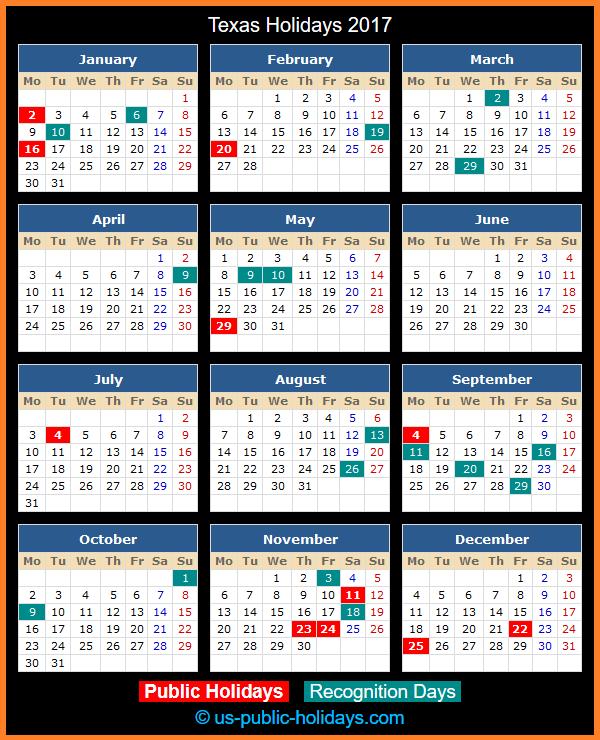 Texas Holiday Calendar 2017