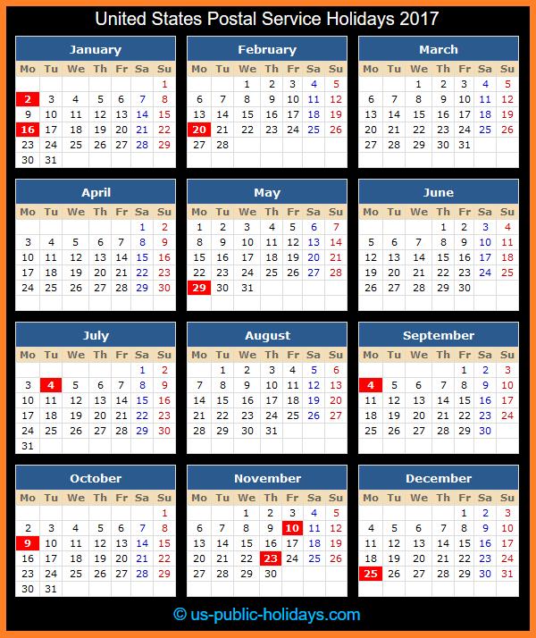 United States Postal Service Holiday Calendar 2017