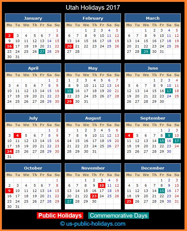 Utah Holiday Calendar 2017