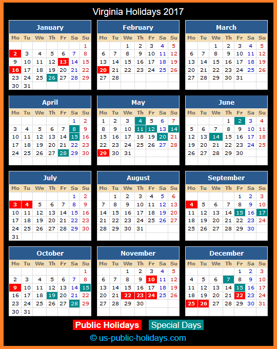 Virginia Holiday Calendar 2017