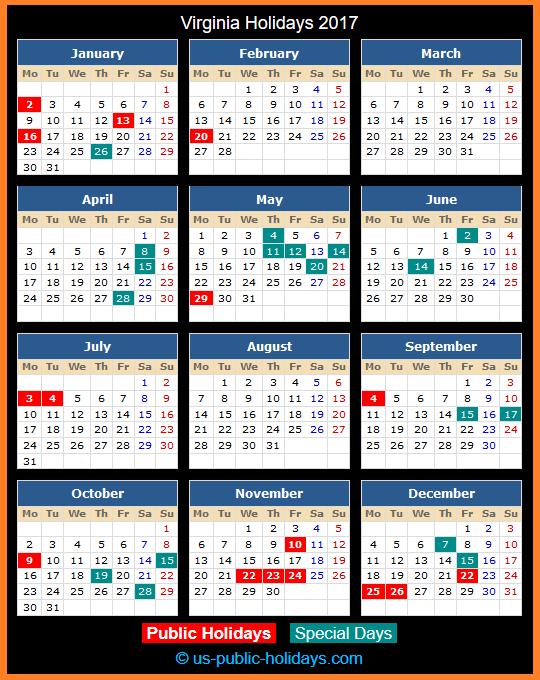 Virginia Holiday Calendar 2017