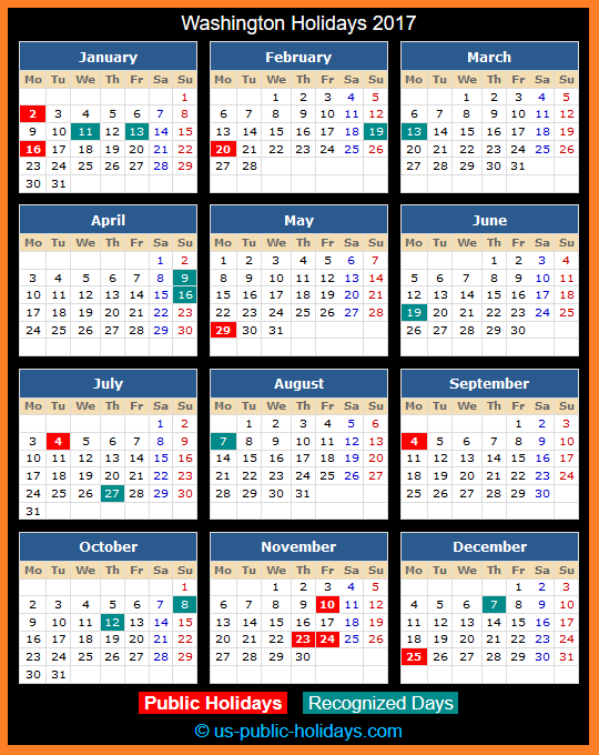 Washington Holiday Calendar 2017