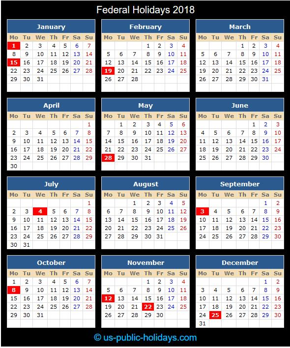 Federal Holiday Calendar 2018