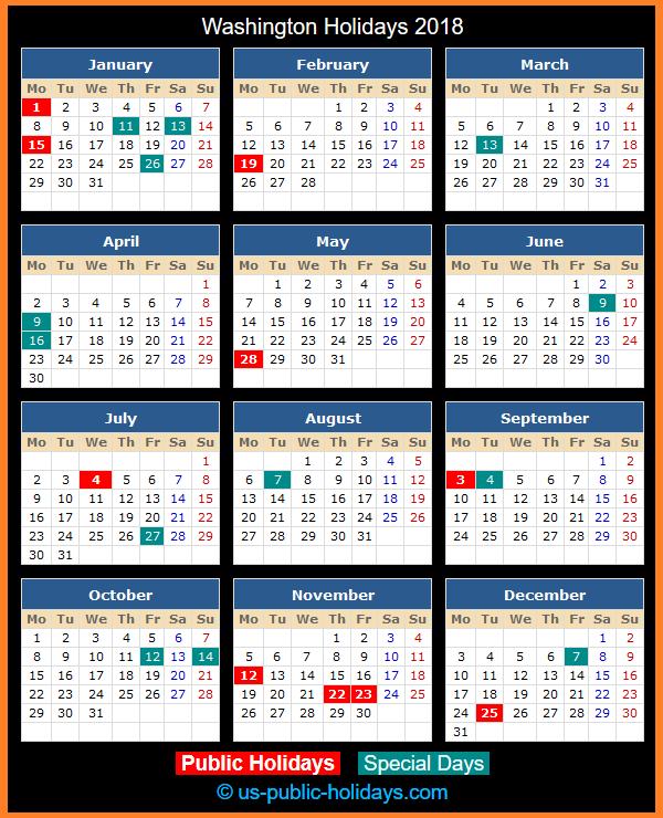 Washington Holiday Calendar 2018