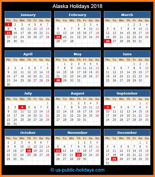 Alaska Holiday Calendar 2018