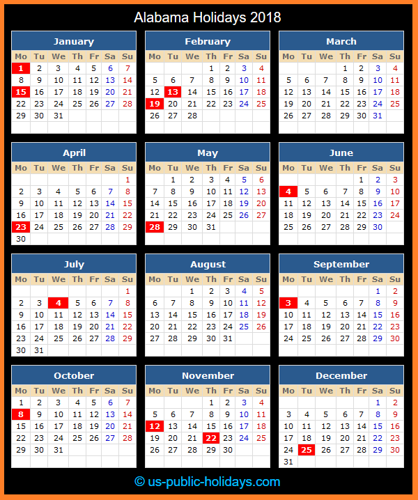 Alabama Holiday Calendar 2018