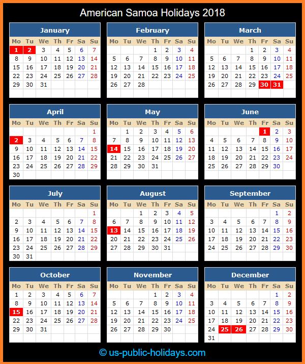 American Samoa Holiday Calendar 2018