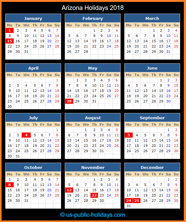 Arizona Holiday Calendar 2018