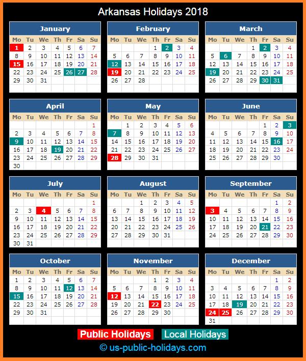 Arkansas Holiday Calendar 2018