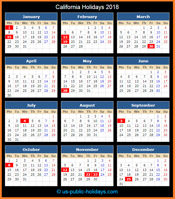 California Holiday Calendar 2018
